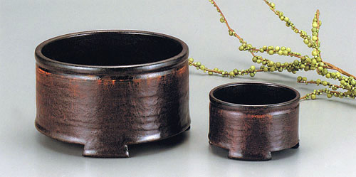 香炉セット 鉄彩釉(てっさいゆう)[加藤信太郎作]木箱入の写真