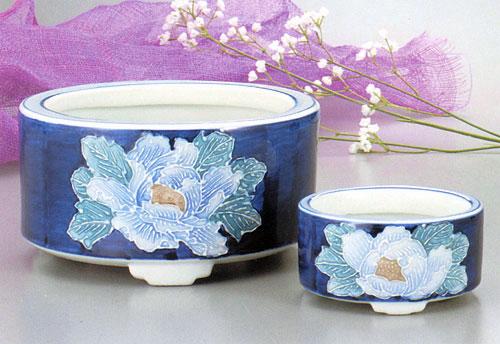 香炉セット 盛絵 盛花牡丹(もりばなぼたん)の写真