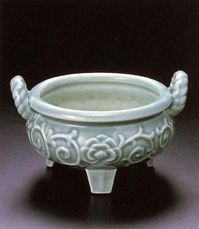 香炉 青磁鼎(かなえ)(サイズ3種類)の写真