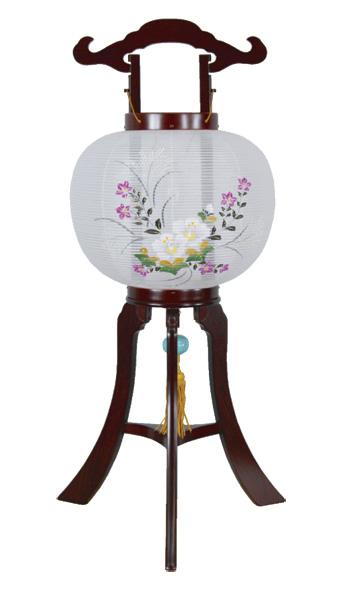 盆提灯 京提灯 桔梗芙蓉[紫檀調](1台)の写真
