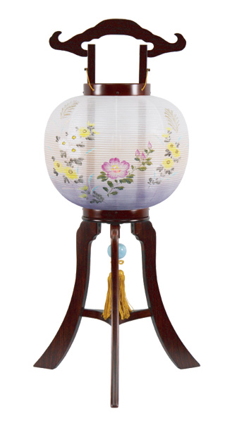 盆提灯 京提灯 芙蓉に菊[紫檀調](1台)の写真