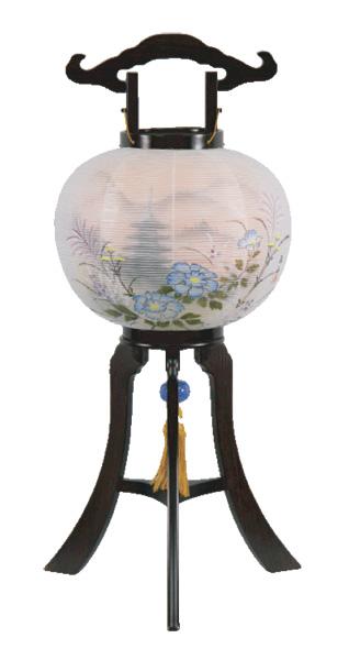 盆提灯 京提灯 牡丹に塔[黒檀調](1台)の写真