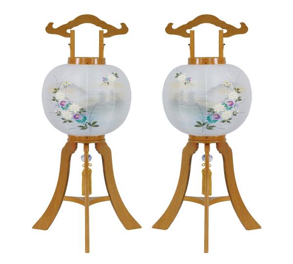 盆提灯 京提灯 秋草[欅調]1対(2台)オリジナル家紋可の写真