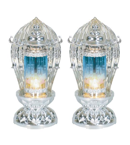 法要灯 パドマ水泡 ブループラチナ(1対)の写真