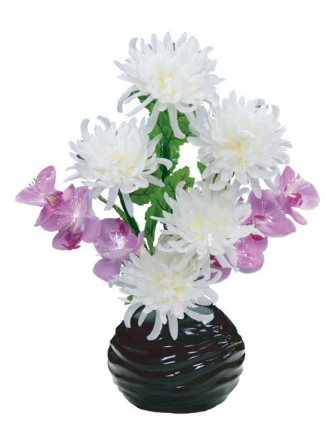 LEDで光る造花 ルミナス白菊と蘭(1台)の写真