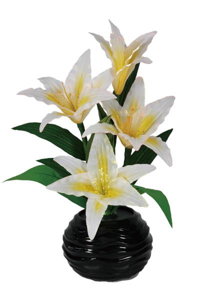 LEDで光る造花 ルミナス黄色百合(1台)の写真