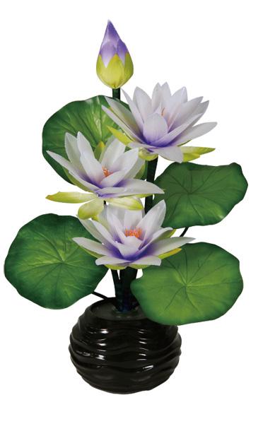 LEDで光る造花 ルミナス紫睡蓮(1台)の写真