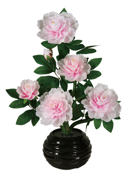 LEDで光る造花 ルミナスピンク牡丹(1台)の写真