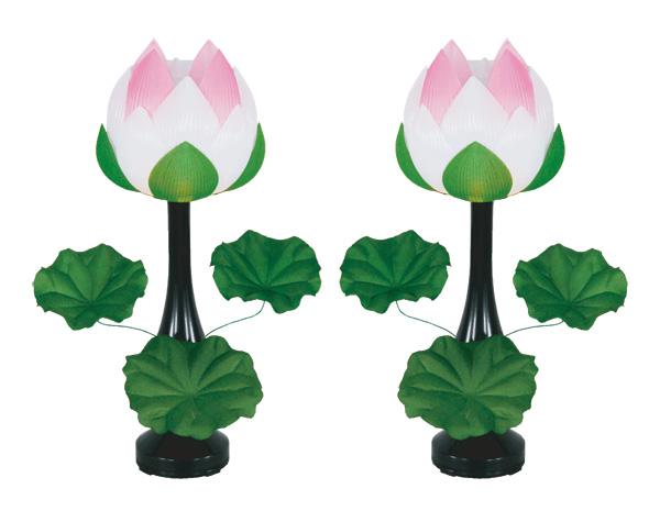 盆棚を飾る造花 蓮華エンビ回転付 青ボカシ[3枚葉](1対)の写真
