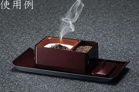焼香セット じあい(慈愛)香炉 焼香盆セット[木目色]の写真