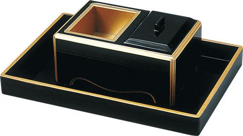 焼香セット 角香炉ノンスリップ[黒フチ金]の写真