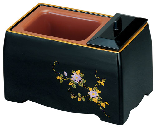 五寸香炉[黒(フチ金)]蒔絵鉄仙の写真