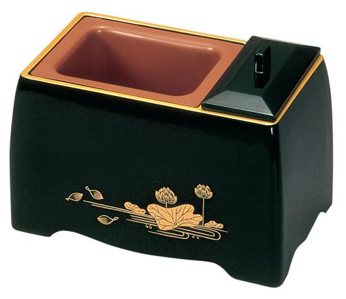 五寸香炉[黒(フチ金)]蓮の写真
