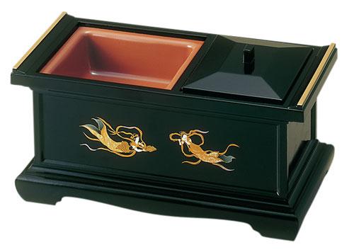 八寸香炉[黒(フチ金)](蒔絵3種類)の写真