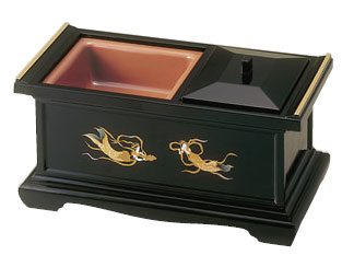 九寸香炉[黒(フチ金)](蒔絵3種類)の写真