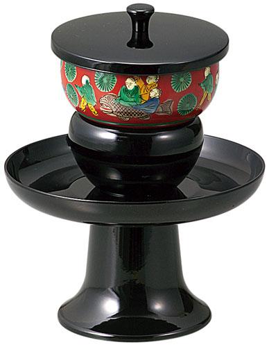 高茶台[黒]九谷焼茶碗付(サイズ2種類)の写真