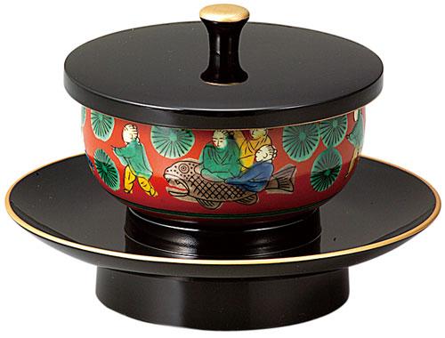 穴あき茶托セット[黒(フチ金)]九谷焼茶碗付(サイズ2種類)の写真
