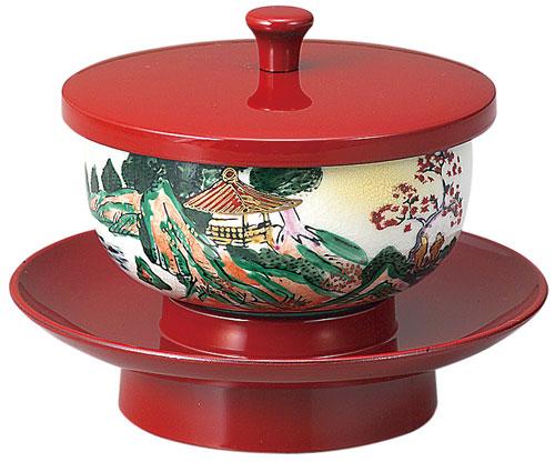 穴あき茶托セット[朱]九谷焼茶碗付(サイズ2種類)の写真