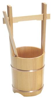 木製手桶 小 ヒシャク付きの写真