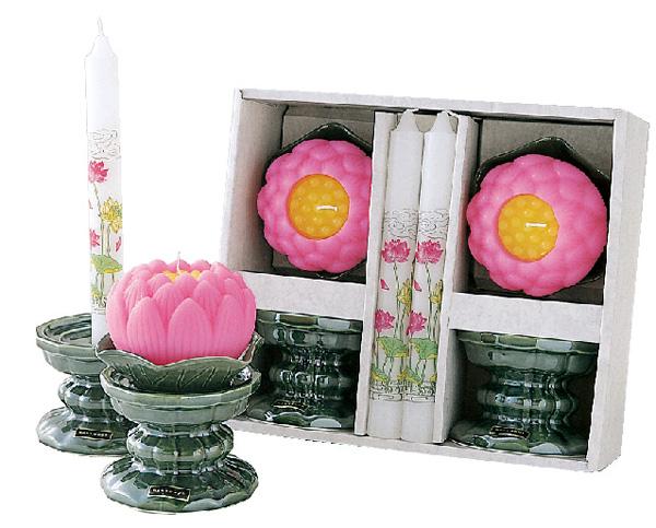 蓮玉ローソクセット 雅(陶製燭台付)の写真