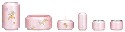 仏具セット 昴6点セット[カトレア彫金入・薄桜色](サイズ2種類)の写真