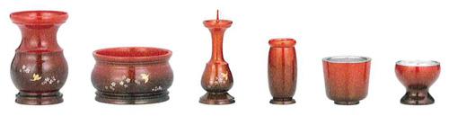 仏具セット 善祐6点セット[梅にウグイス彫・ワイン金彩色](サイズ2種類)の写真