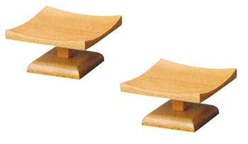 モダン供物台 木製低高月[ライト色](サイズ2種類)1対の写真