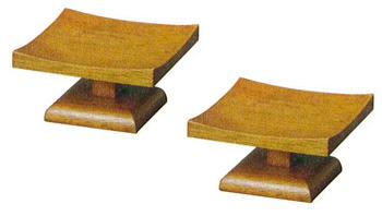 モダン供物台 木製低高月[ブラウン色](サイズ2種類)1対の写真