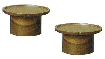 モダン供物台 木製花型高月[クルミ]1対の写真