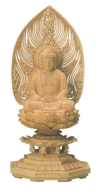 仏像 座釈迦【本柘植】[八角台座・水煙光背](サイズ4種類)の写真