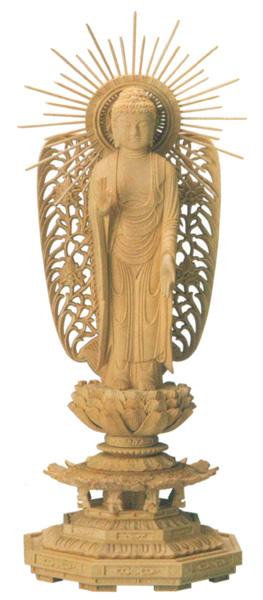 仏像 西立弥陀【本柘植】[八角台座・西型唐草光背](サイズ5種類)の写真