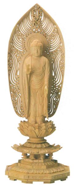 仏像 舟立弥陀【本柘植】[八角台座・水煙光背](サイズ5種類)の写真