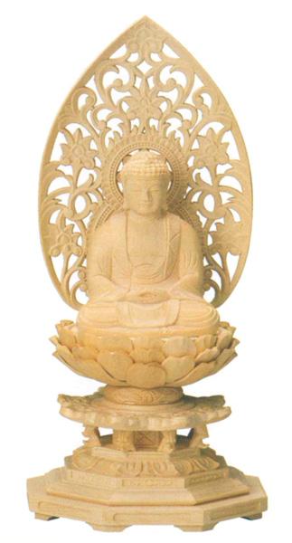 仏像 座釈迦【桧木】[八角台座・唐草光背](サイズ4種類)の写真