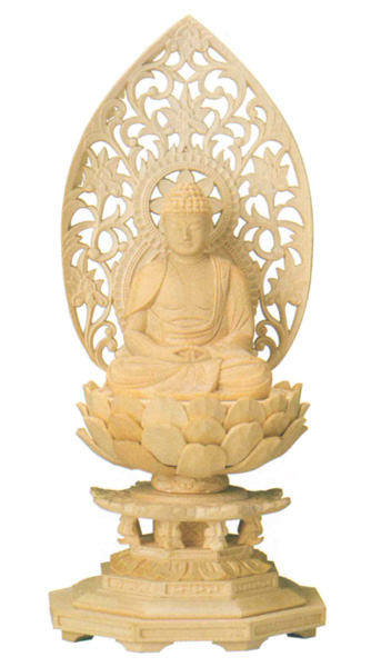 仏像 座弥陀【桧木】[八角台座・火炎光背](サイズ4種類)の写真
