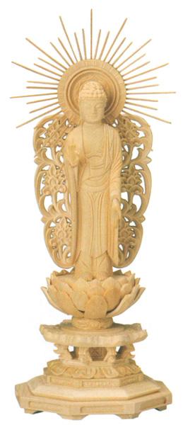 仏像 西立弥陀【桧木】[八角台座・西型唐草光背](サイズ5種類)の写真