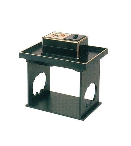 スベル焼香机+廻し香炉6寸 黒セットの写真