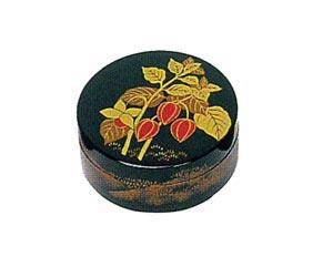 夏・ほおずき 木質ワンタッチ式塗香合 2.7寸[黒塗][紙箱入]の写真