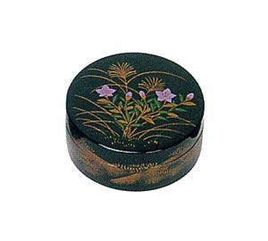秋・桔梗(ききょう) 木質ワンタッチ式塗香合 2.7寸[黒塗][紙箱入]の写真