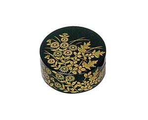 秋草 木質ワンタッチ式塗香合 2.7寸[黒塗][紙箱入]の写真