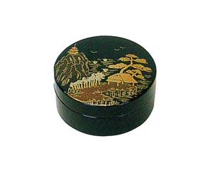 山水 木質ワンタッチ式塗香合 2.7寸[黒塗][紙箱入]の写真