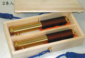 筒型塗香器【真鍮本金メッキ・房付】【桐箱入】の写真
