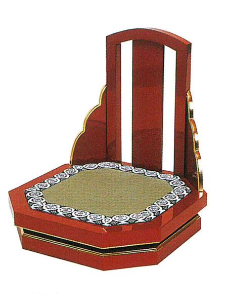 礼盤用背付隅切回転椅子 [朱塗本金箔押]の写真