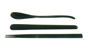 刷匙箸[木製漆塗・黒]の写真