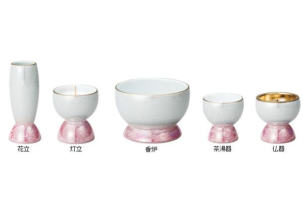 光綺(こうき)五具足 【有田焼】香炉3.0寸[ホワイト/ピンク]の写真