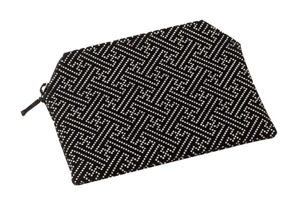 印伝調ファスナー付念珠袋[サヤ 黒]の写真