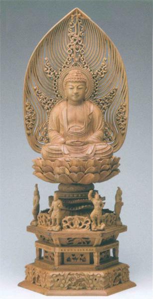 仏像 白檀 四天王六角台座 【座釈迦】 水煙光背 眼入(サイズ2種類)の写真