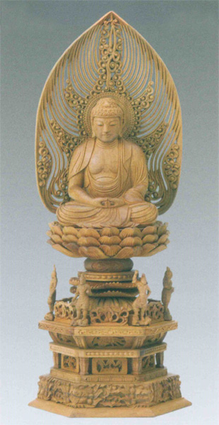仏像 白檀 四天王六角台座 【座弥陀】 水煙光背 眼入(サイズ2種類)の写真
