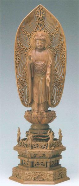 仏教 白檀 四天王六角台座 【舟立弥陀】 水煙光背 眼入(サイズ2種類)の写真