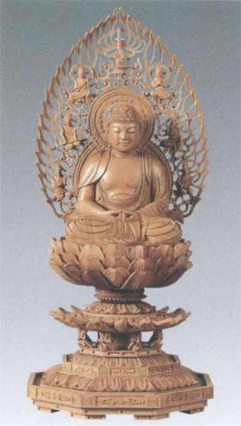 仏教 白檀 八角台座 【座釈迦または座弥陀】 飛天光背(サイズ4種類)の写真