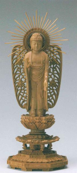 仏像 白檀 八角台座 【西立弥陀】 西型光背(サイズ5種類)の写真